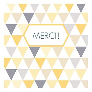 Carte de remerciement violet merci triangles photo jaune violet