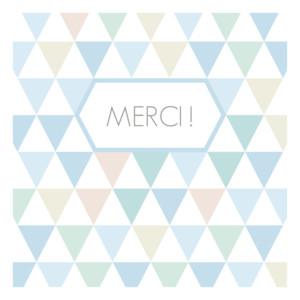 Carte de remerciement Merci triangles bleu