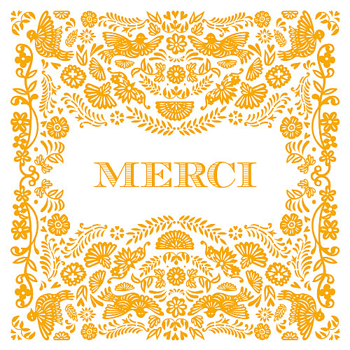 Carte de remerciement Merci papel picado orange