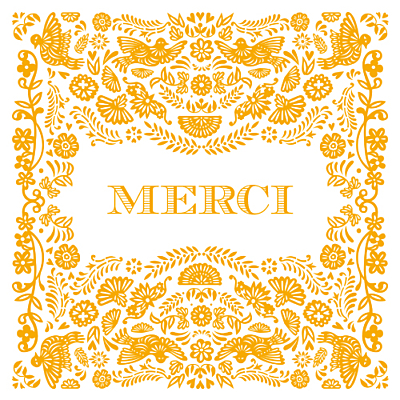Carte de remerciement Merci papel picado orange finition