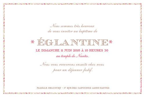 Faire-part de baptême Croix huguenote rose