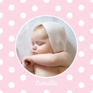 Faire-part de naissance Médaillon photo pois design rose clair