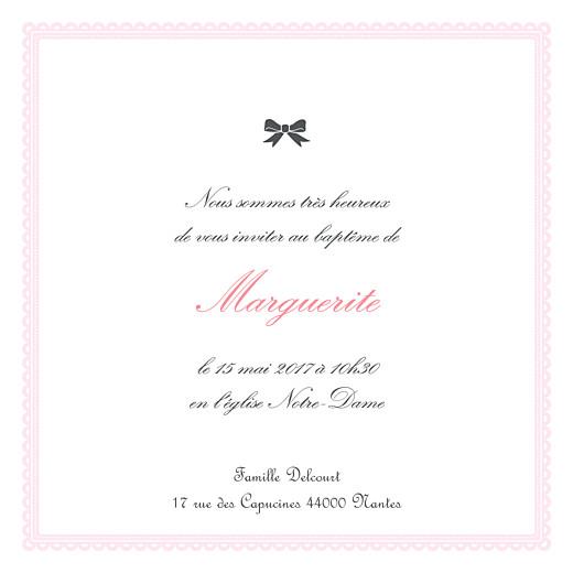 Faire-part de baptême Versailles rose