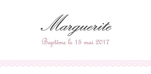Marque-place Baptême Versailles rose