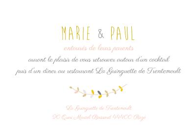 Carton d'invitation mariage Tandem rose ocre finition
