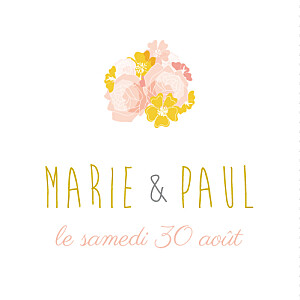 Etiquette de mariage rose tandem rose ocre