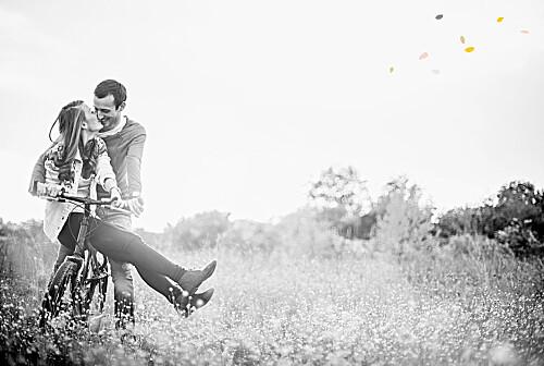 Carte de remerciement mariage Tandem photo rose ocre