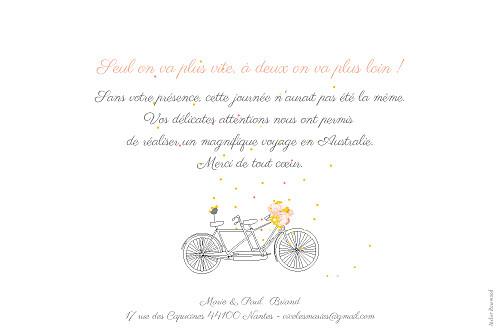 Carte de remerciement mariage Tandem photo rose ocre - Page 2