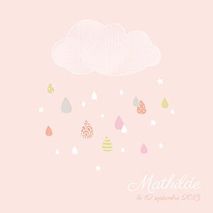Faire-part de naissance sans photo tombe la pluie rose