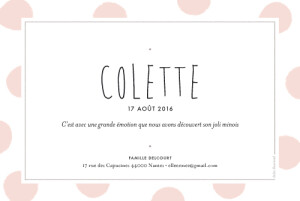 Faire-part de naissance Big dots photo rose