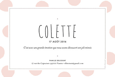 Faire-part de naissance Big dots photo rose finition