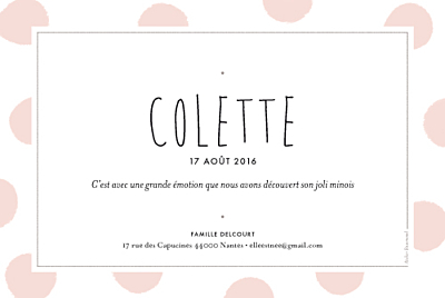 Faire-part de naissance Big dots rose finition