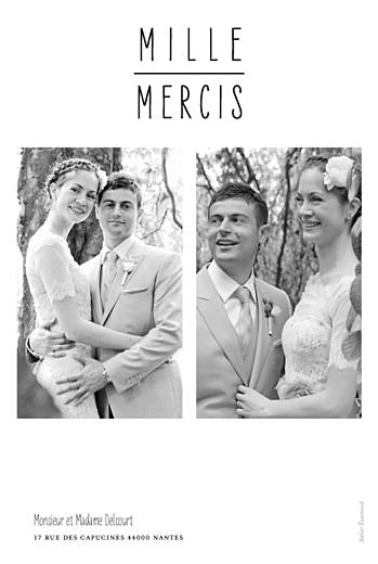 Carte de remerciement mariage Toi & moi (portrait) 3 photos blanc - Page 2