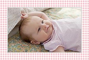 Faire-part de naissance jaune vichy paysage photo rose