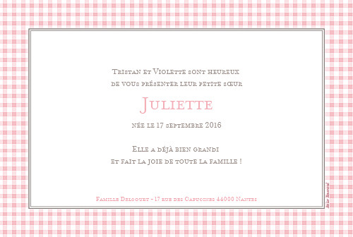 Faire-part de naissance Vichy paysage photo rose - Page 2