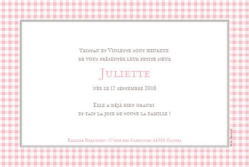 Faire-part de naissance Vichy paysage photo rose
