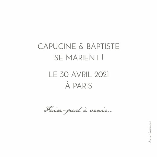 Save the Date Petit polaroid blanc