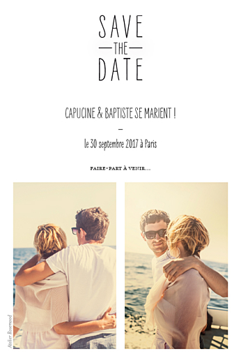 Save the Date Toi & moi (portrait) blanc