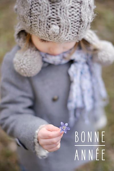 Carte de voeux Bonne année (petit portrait) blanc finition