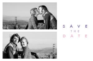 Save the Date Justifié 2 photos blanc