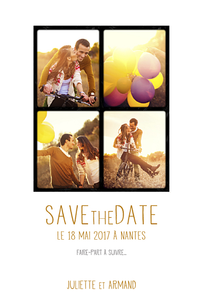 Save the Date 4 photos blanc finition