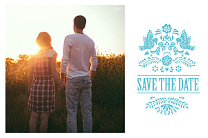 Save the Date Papel picado turquoise