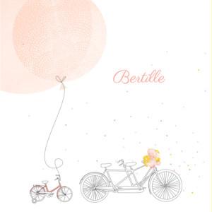 Faire-part de naissance À bicyclette (1 enfant) photos corail