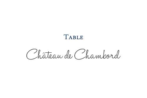 Marque-table mariage Chic bleu roi