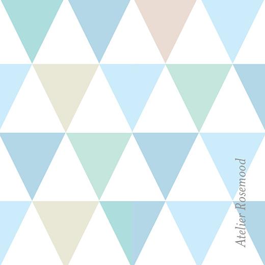 Etiquette de baptême Triangles (carré) bleu
