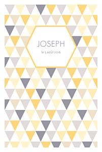 Faire-part de naissance bilingue triangles bilingue (2 photos) jaune violet