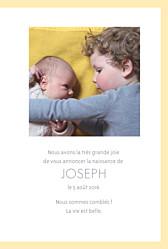 Faire-part de naissance Triangles bilingue (2 photos) jaune violet