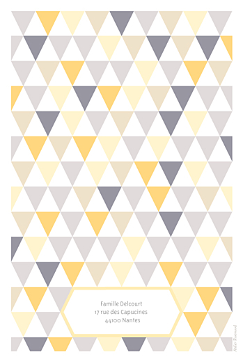Faire-part de naissance Triangles bilingue (2 photos) jaune violet