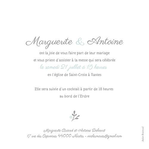 Faire-part de mariage Couronne champêtre menthe
