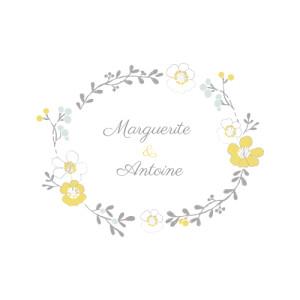 Faire-part de mariage Couronne champêtre (4 pages) blanc ocre
