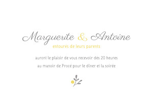 Carton d'invitation mariage Couronne champêtre blanc ocre