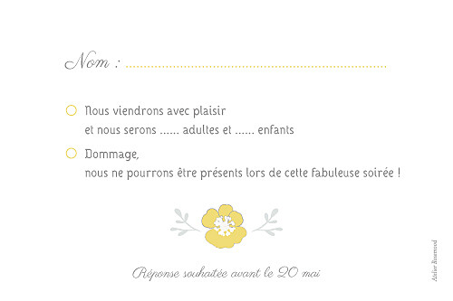 Carton réponse mariage Couronne champêtre blanc ocre - Page 2