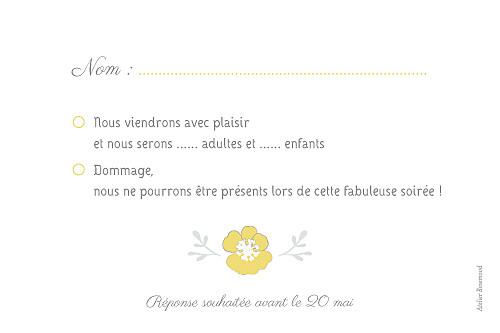 Carton réponse mariage Couronne champêtre blanc ocre