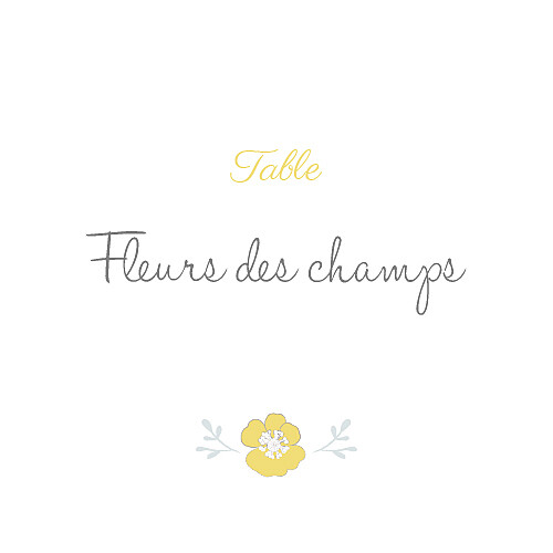 Marque-table mariage Couronne champêtre blanc ocre