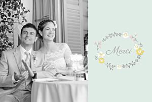 Carte de remerciement mariage Couronne champêtre menthe