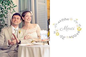Carte de remerciement mariage jaune couronne champêtre blanc ocre
