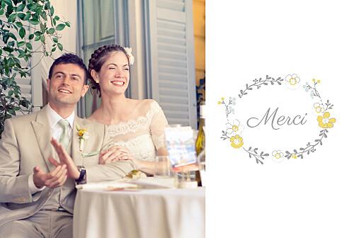 Carte de remerciement mariage Couronne champêtre blanc ocre