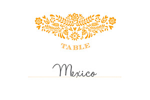 Marque-table mariage orange papel picado soleil