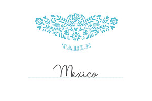 Marque-table mariage Papel picado turquoise