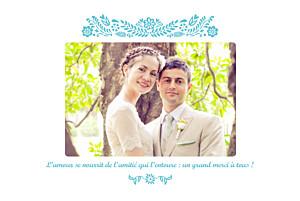 Carte de remerciement mariage violet papel picado (paysage) turquoise