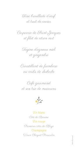 Menu de mariage Couronne champêtre blanc ocre