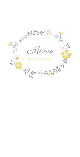 Menu de mariage Couronne champêtre (4 pages) blanc ocre