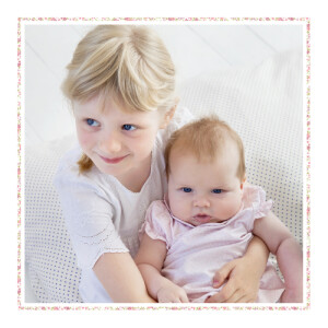 Faire-part de naissance Liseré liberty photo rose