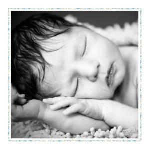 Faire-part de naissance Liseré liberty photo bleu