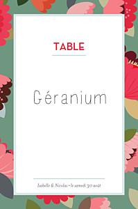 Marque-table mariage Jardin bohème vert