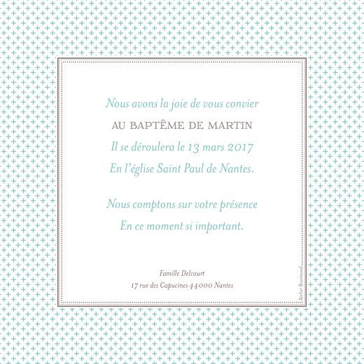 Faire-part de baptême Motif chic écusson turquoise - Page 2